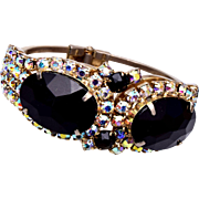 Clamper Black and AB Rhinestone Bracelet