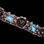 Sterling Czechoslovakia Aqua and Faux Pearl Bracelet