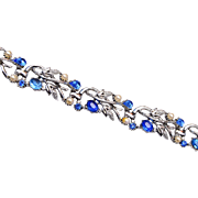 Star Blue Rhinestone and Faux Pearl Bracelet
