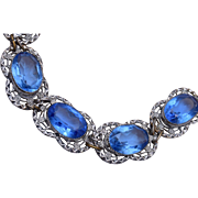 Blue Open Backed Crystal Bracelet