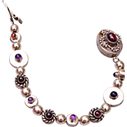 Sterling Amethyst and Garnet Bracelet 6-1/4""