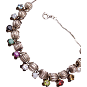 Sterling Silver and Real Gem Bracelet