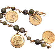 Gold Filled and Green Marble Scottish Charm Bracelet