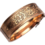 "Coro 3/4"" Hinged Gold Filled Bangle Bracelet"