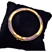 Pink Quartz and Gold Hinged Bangle Bracelet
