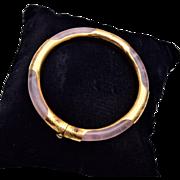Pink Quartz and Gold Hinged Bangle Bracelet