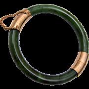 Green Jade Hinged Bracelet