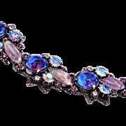 Florenza Blue and Purple Rhinestone Bracelet
