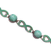 Green Enameled Sterling Silver and Peking Glass Bracelet
