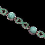 Green Enameled Sterling Silver and Peking Glass Bracelet