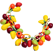 Glass Fruit and Celluloid Charm Bracelet
