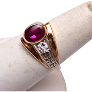 10kt Diamond and Ruby Ring Size 8