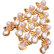 Angelic Faux Pearl and Rhinestone Christmas Tree Brooch