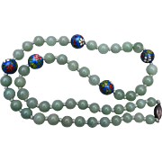 Green Jade and Cloisonné Necklace