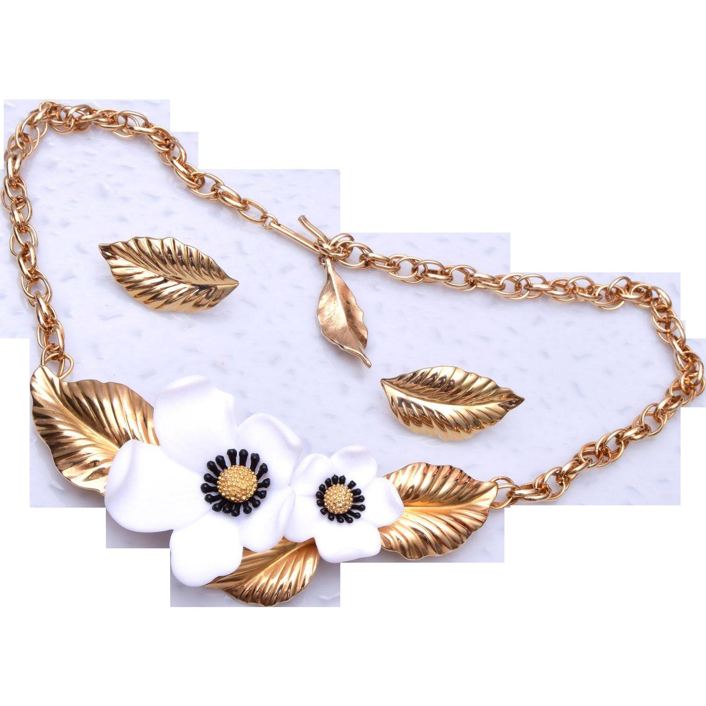 Louis Feraud Paris Flower Necklace and Earring Set