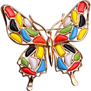 Trifari Modern Mosaics Collection - Multi Colored Butterfly Brooch