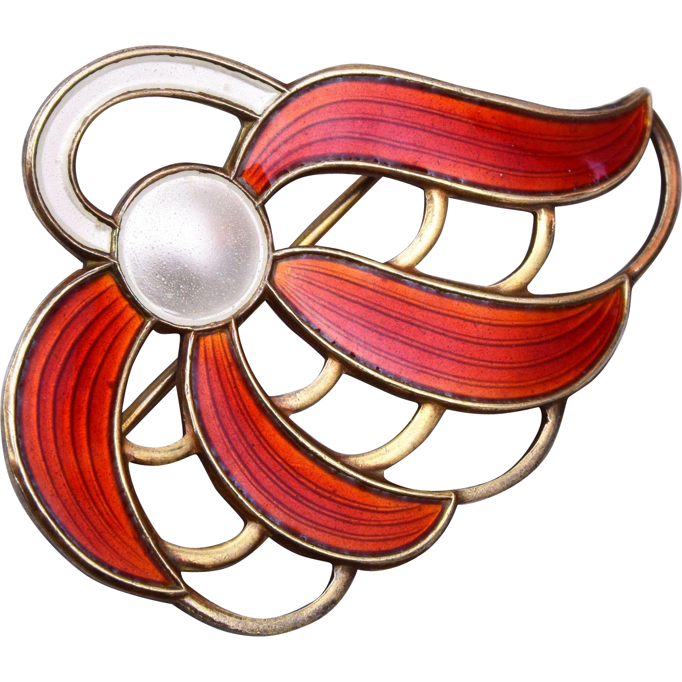 Askel Holmsen Made in Norway Sterling and Enamel Brooch