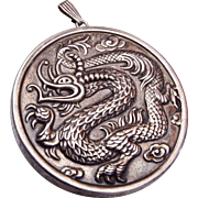 c1970 Reed and Barton Ming Sterling Dragon Mirror Pendant Necklace