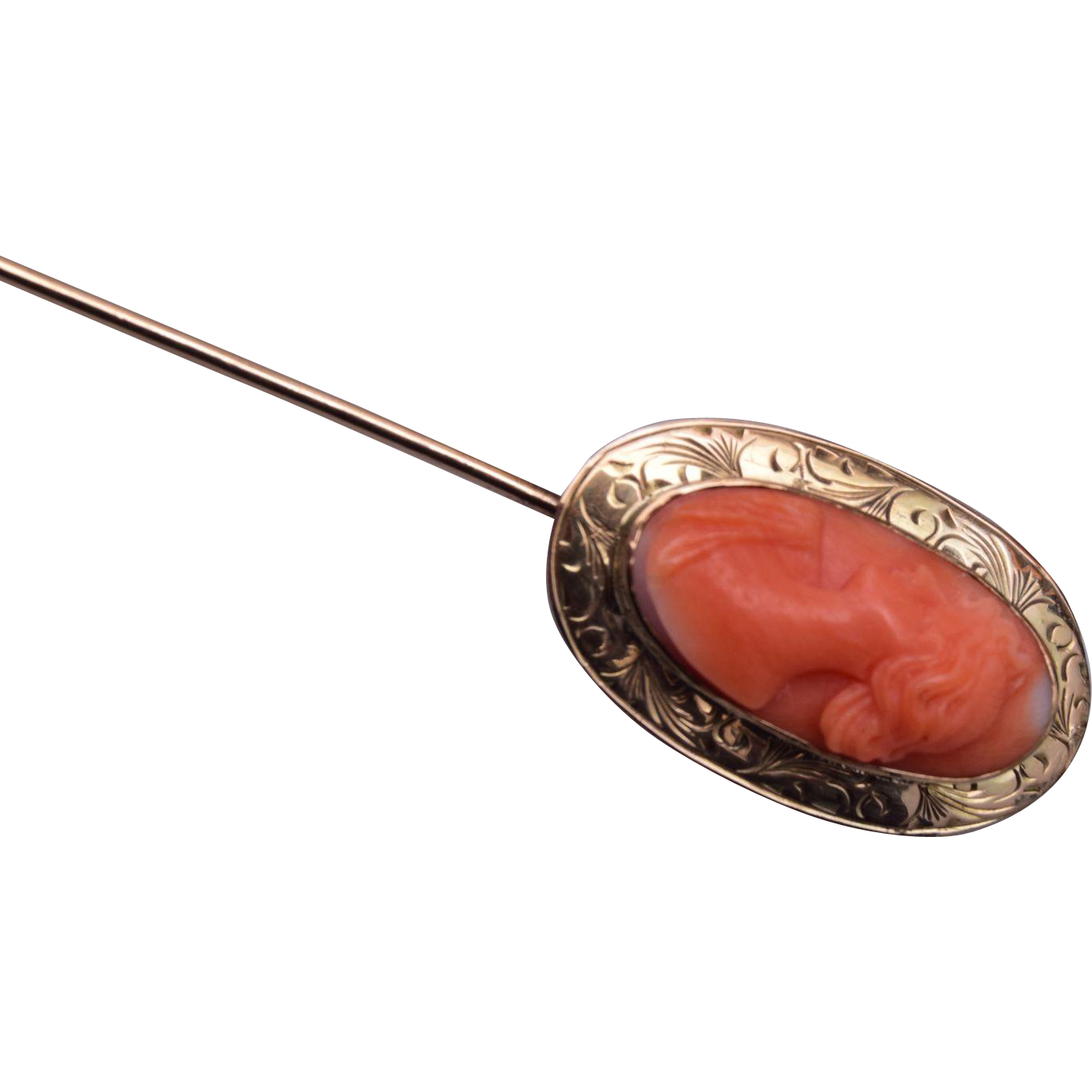 14kt Gold Salmon Coral Cameo Stick Pin