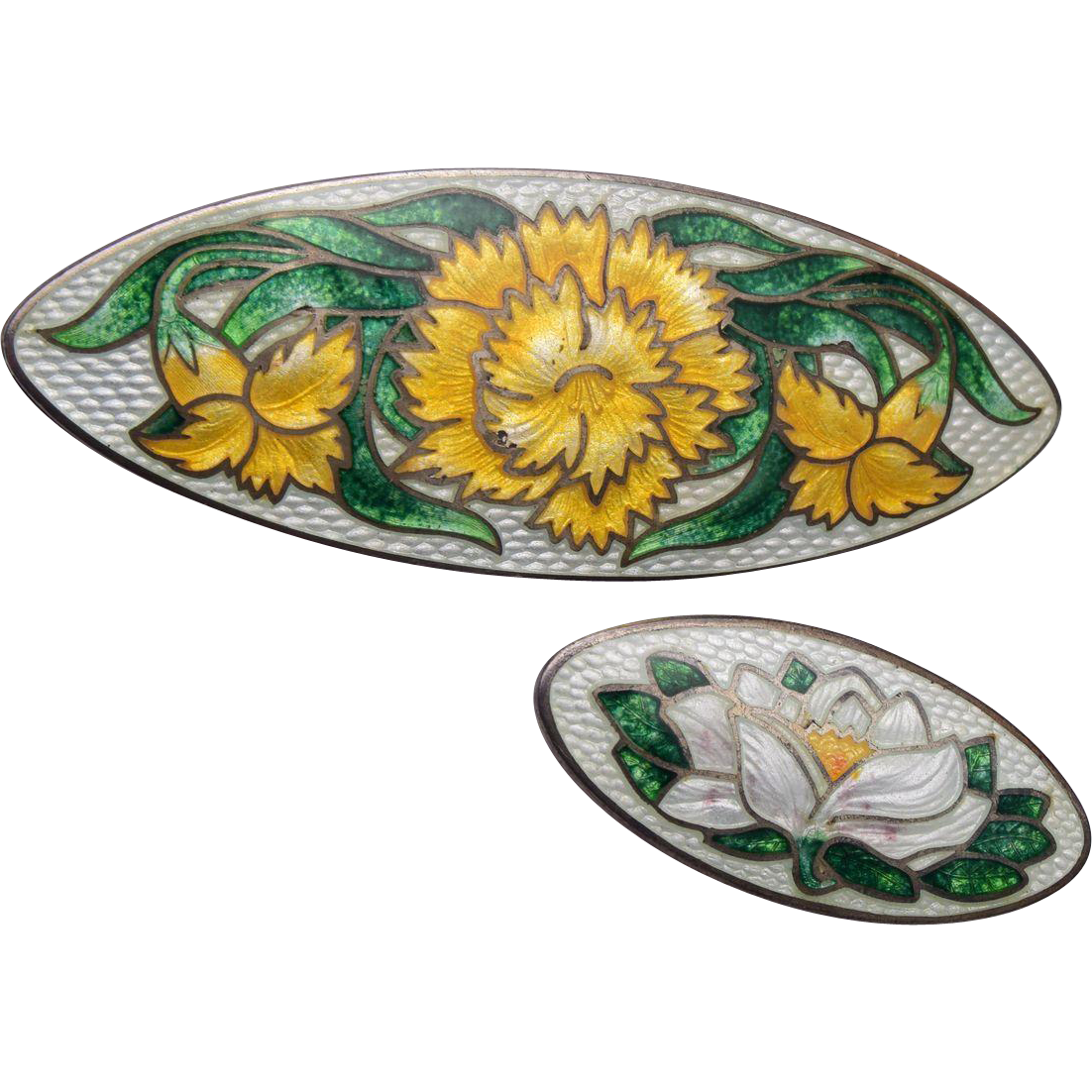 Pair of Signed Genuine Cloisonne' Sterling Brooches