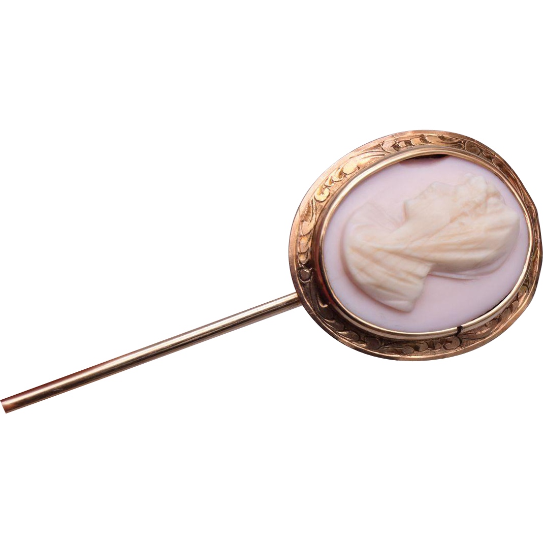 14kt Gold Angel Skin Coral Stick Pin
