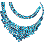 Sterling and Aqua Blue Stone Necklace and Bracelet Set