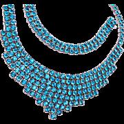 Sterling and Aqua Blue Stone Necklace and Bracelet Set
