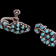Vintage Zuni Sterling Snake Eye Petit Point Earrings