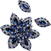 Kramer Blue Rhinestone Brooch and Earring Set