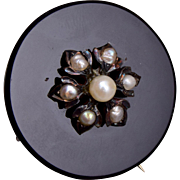 Victorian 14kt Gold, Onyx and Cultured Pearl Brooch