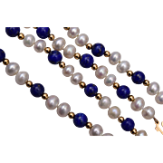 Lapis, 14kt Gold and Cultured Pearl Necklace