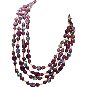 Trifari Crystal and Glass 4 Strand Beaded Necklace
