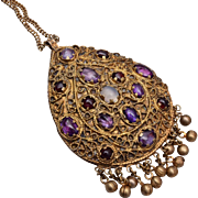 Vintage Kashmiri Indian Ethnic Tribal Pendant Necklace
