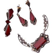 Sterling, Marcasite and Carnelian Pierced Earring Set
