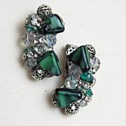 Green Art Glass, Crystal and Rhinestone Earrings