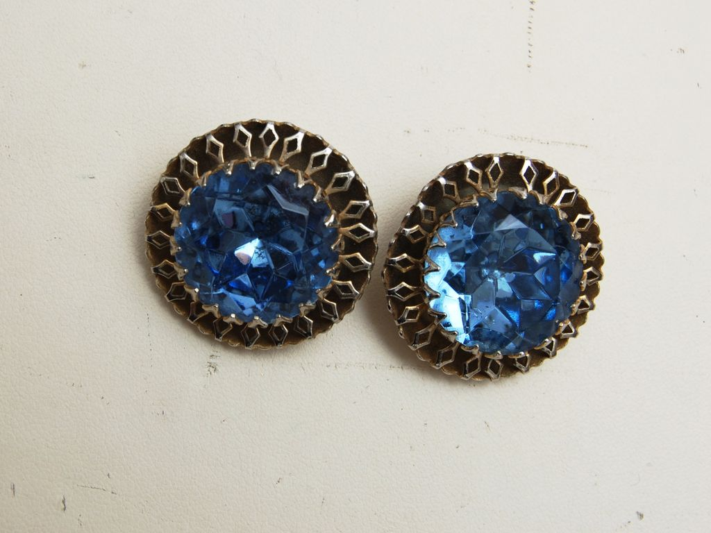 Large Light Blue Rhinestone Earrings