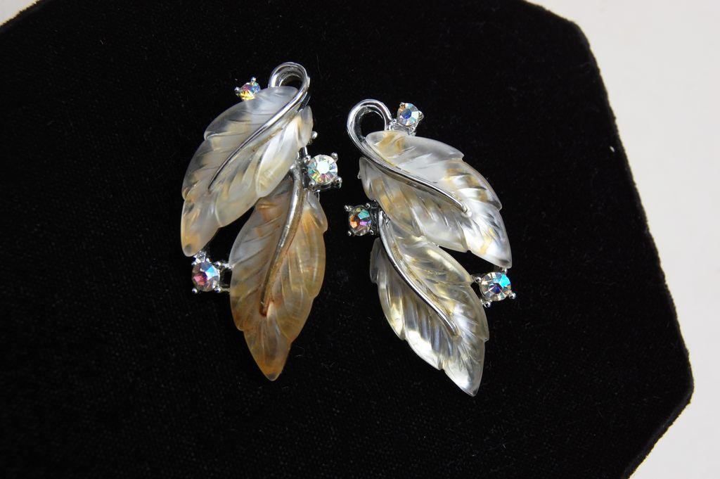Lisner Glowing Clear Leaf Earrings