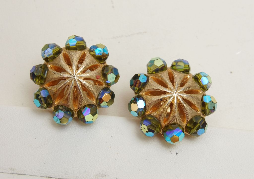Crown Trifari AB Crystal Earrings - Pre 1955