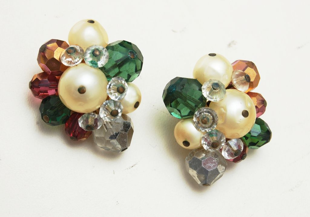 Hattie Carnegie Colorful Crystal and Faux Pearl Earrings