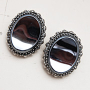 Whiting and Davis Shiny Hematite Earrings