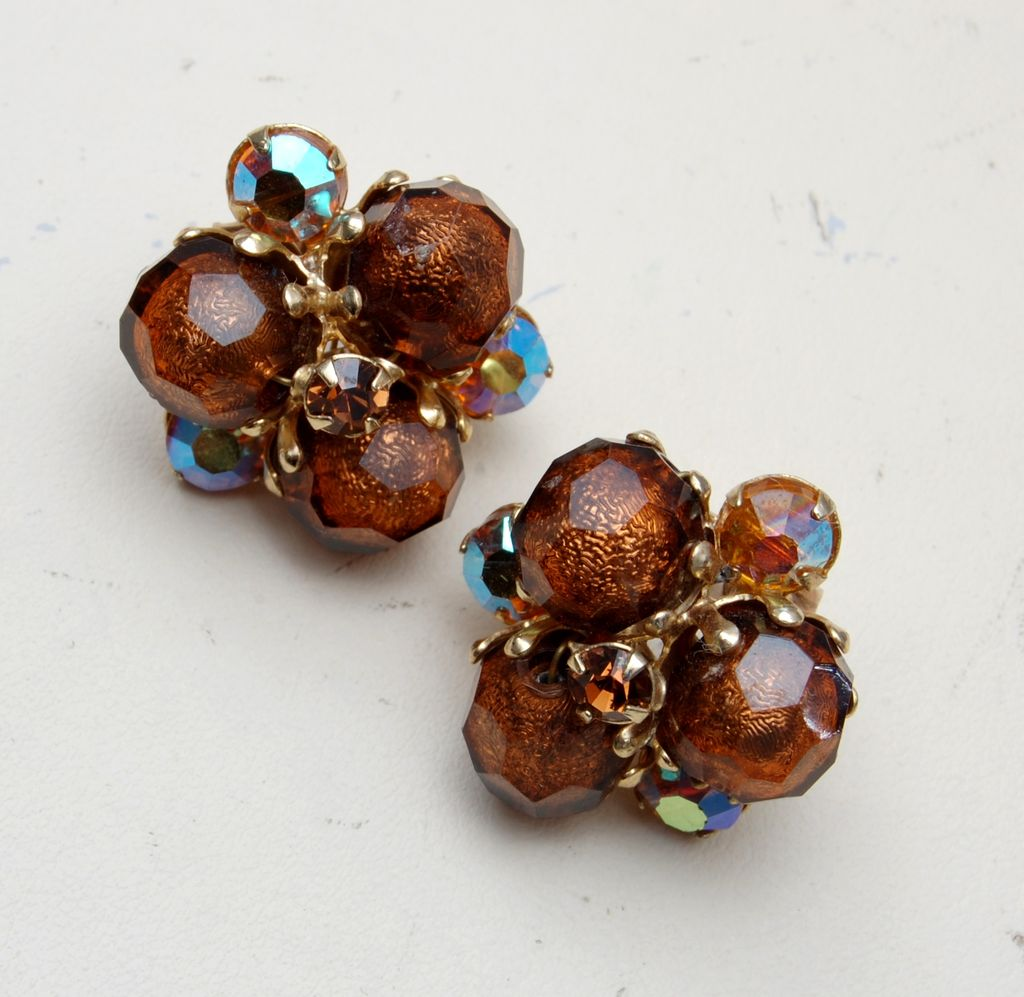 Vogue Lucite and AB rhinestone Earrings