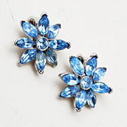 Pell Blue Rhinestone Star Earrings