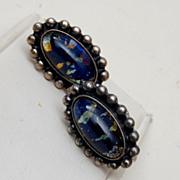 Sterling and Blue Foil Glass Earrings