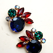 Large and Beautifully Colorful Rhinestone Earrings