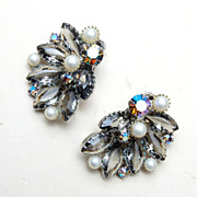 Unfoiled Rhinestones and Faux Pearl Earrings