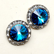 Blue Rivoli Crystal and Channel Set Rhinestone Earrings
