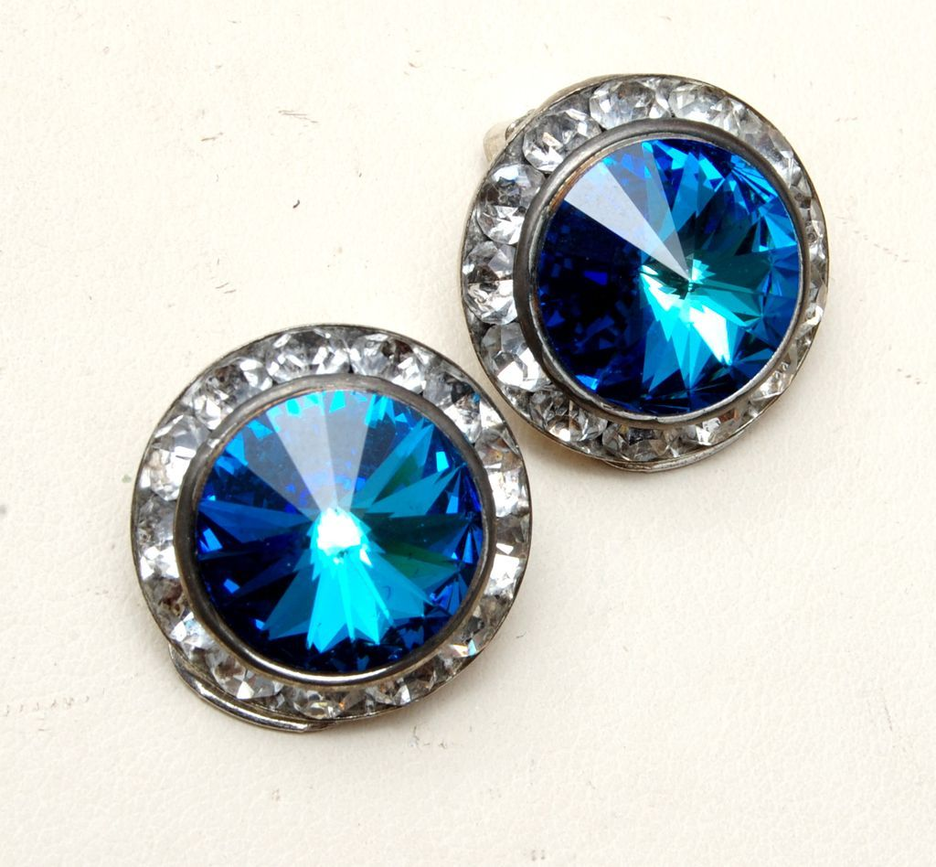 Blue Rivoli Crystal and Channel Set Rhinestone Earrings