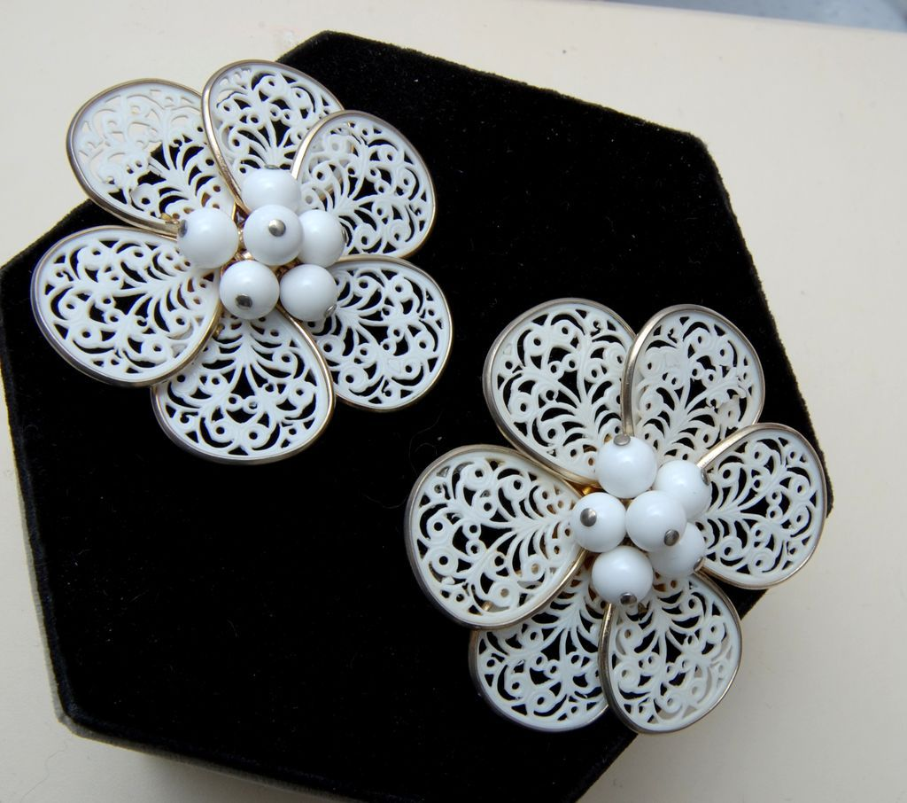 Large Lacy Flower Earrings