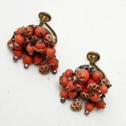 Real Coral Dangle Earrings