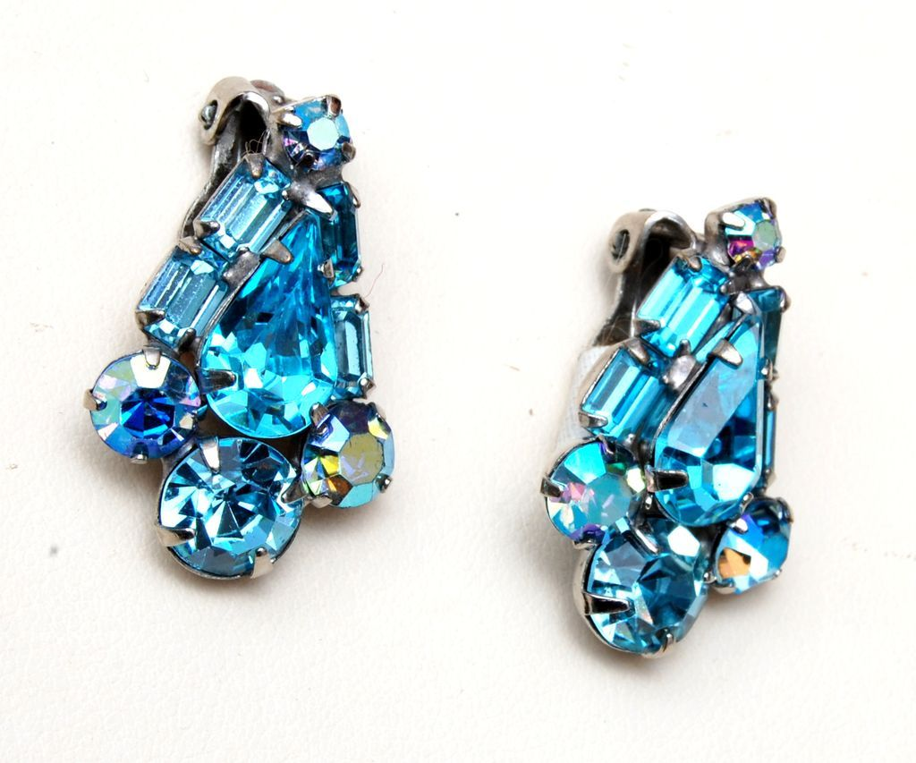Weiss Aqua Blue Rhinestone Earrings